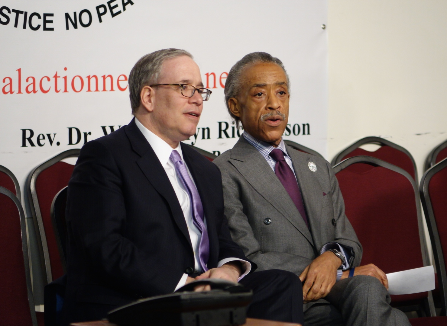 As Mayor de Blasio spoke, Sharpton briefly had City Comptroller Scott Stringer as the only elected official sitting onstage.
