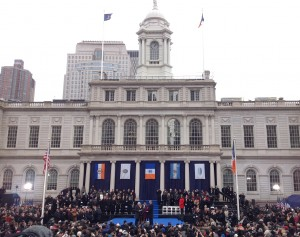 Former President Bill Clinton administers the oath of office to Mayor Bill de Blasio.  1/1/14