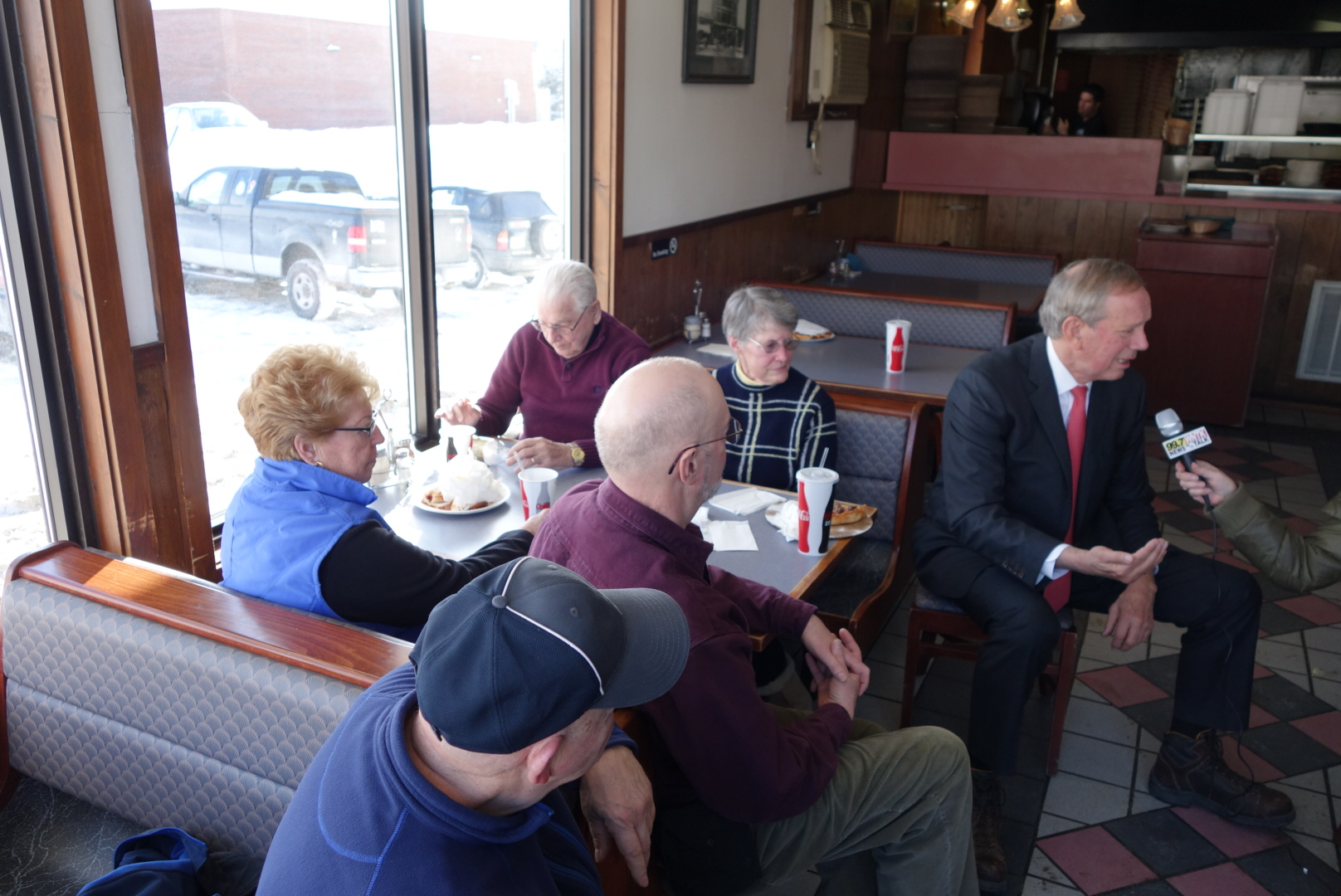 George Pataki at a pizzeria in Newport, NH.  2/3/15
