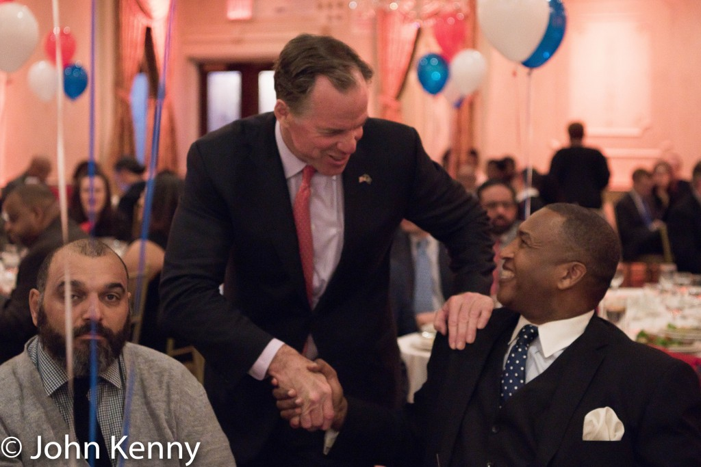 Paul Massey greets Michel Faulkner at the Bronx GOP dinner. 3/8/17