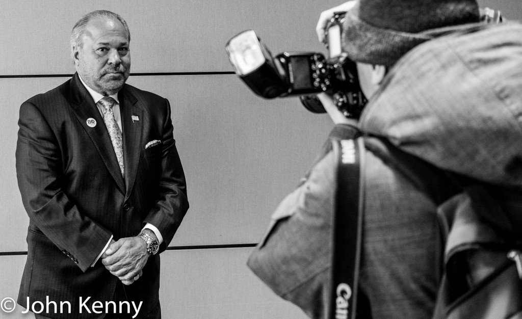 Bo Dietl poses for a post-presser portrait by Jefferson Siegel. 3/24/17